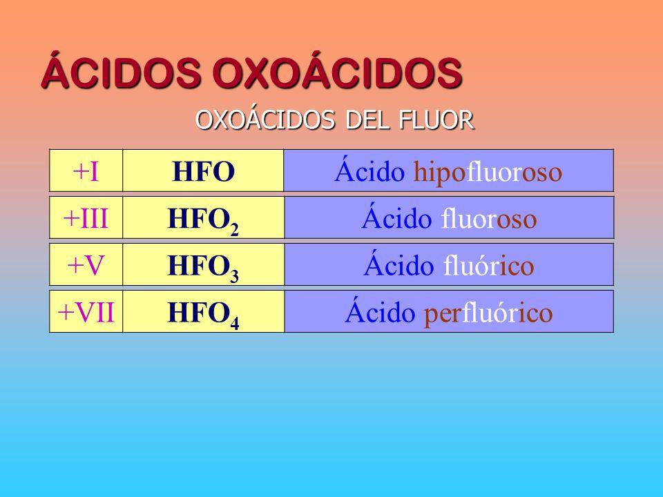 ÁCIDOS OXOÁCIDOS +I HFO Ácido hipofluoroso +III HFO2 Ácido fluoroso +V