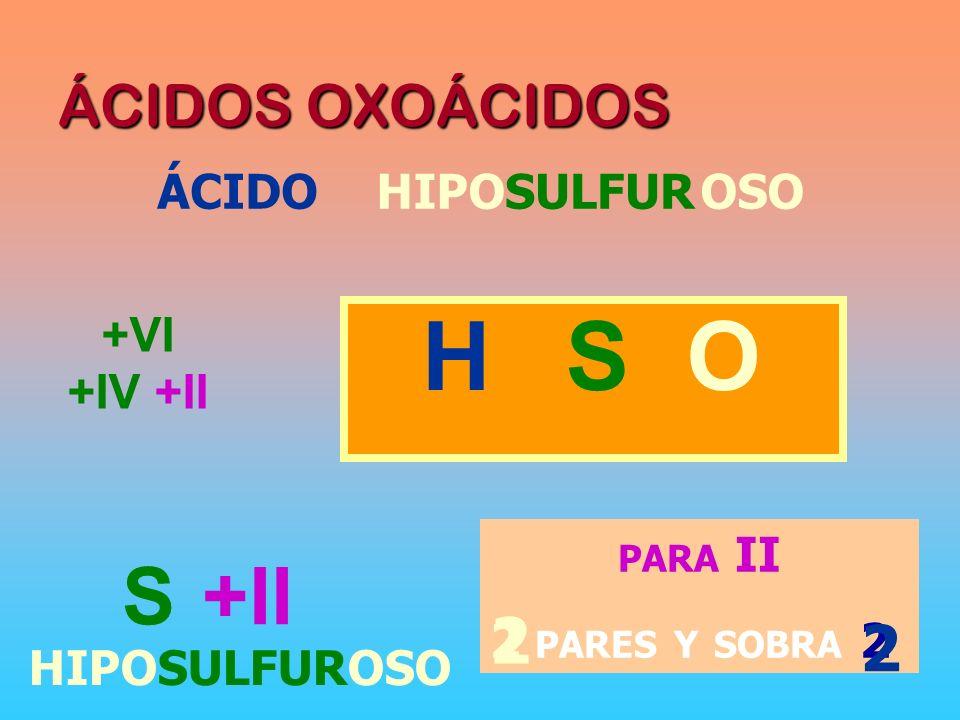 H S O 2 2 S +II ÁCIDOS OXOÁCIDOS ÁCIDO HIPO OSO SULFUR +VI +IV +II