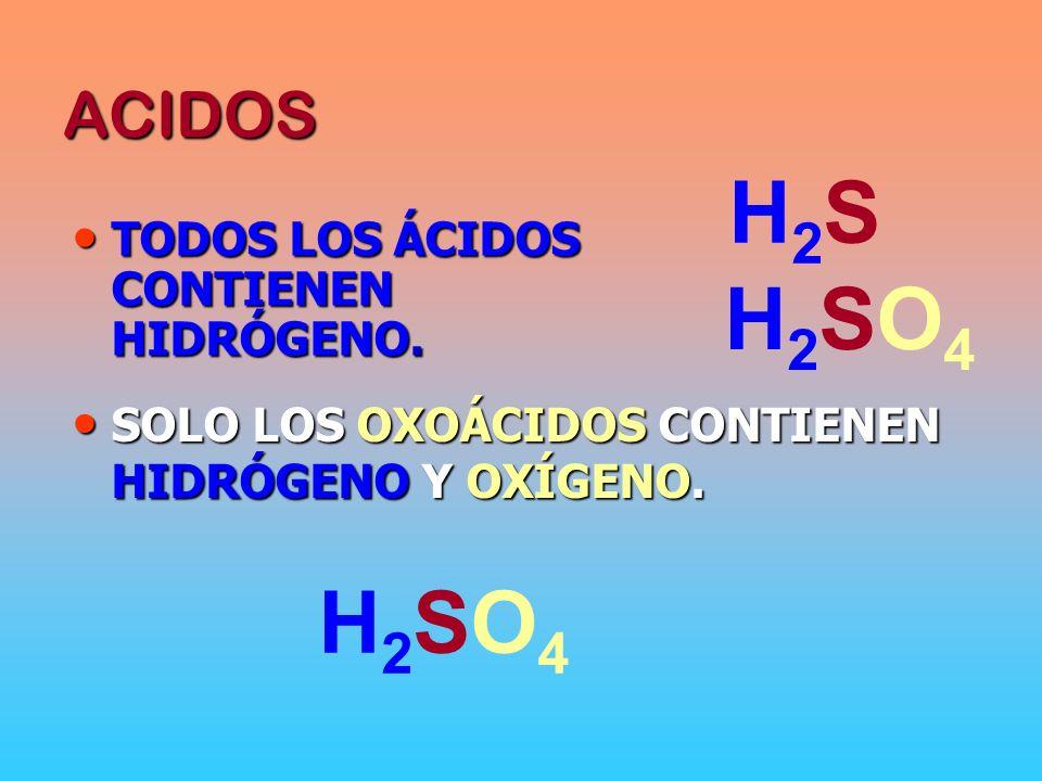 H2S H2SO4 H2SO4 ACIDOS TODOS LOS ÁCIDOS CONTIENEN HIDRÓGENO.