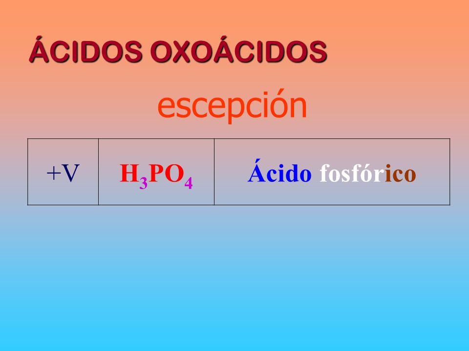 ÁCIDOS OXOÁCIDOS escepción +V H3PO4 Ácido fosfórico