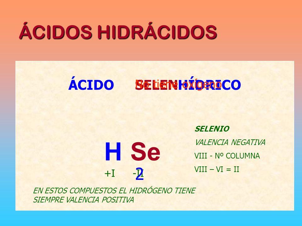 H Se 2 ÁCIDOS HIDRÁCIDOS ÁCIDO SELEN HÍDRICO No tiene oxígeno +I -II