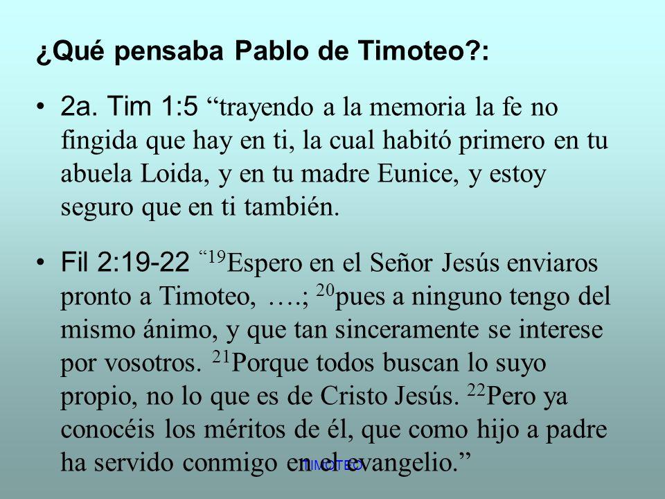 ¿Qué pensaba Pablo de Timoteo :
