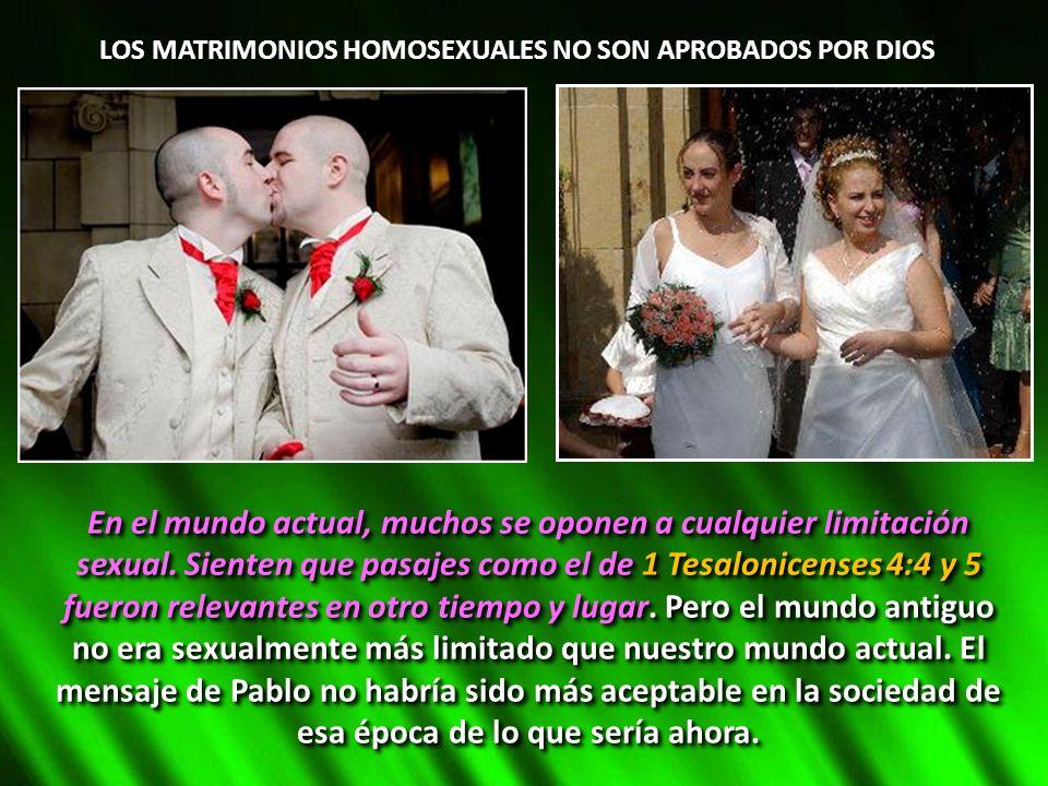 LOS MATRIMONIOS HOMOSEXUALES NO SON APROBADOS POR DIOS
