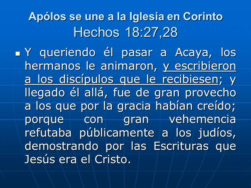 Apólos se une a la Iglesia en Corinto Hechos 18:27,28