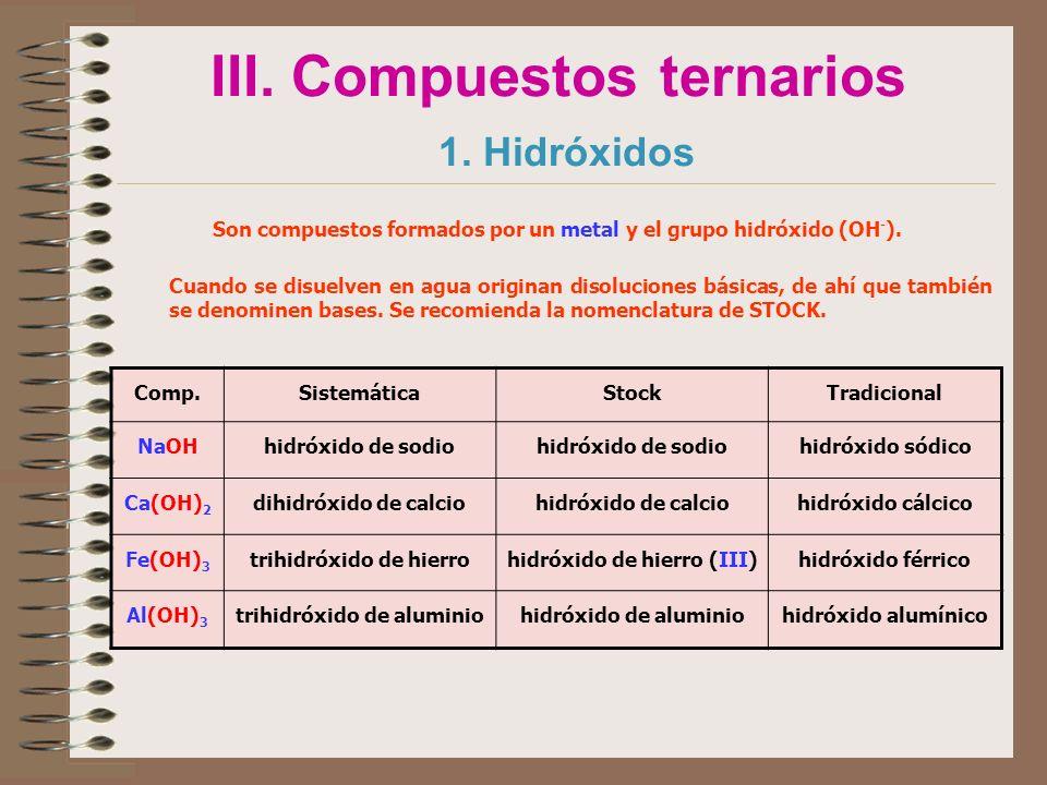 III. Compuestos ternarios 1. Hidróxidos