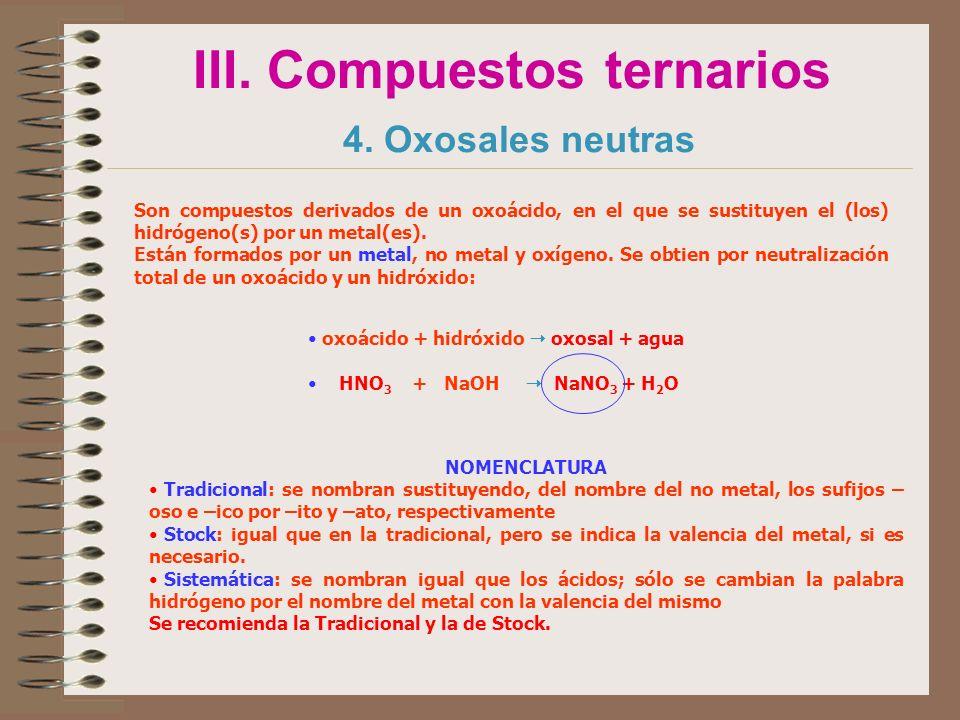 III. Compuestos ternarios 4. Oxosales neutras
