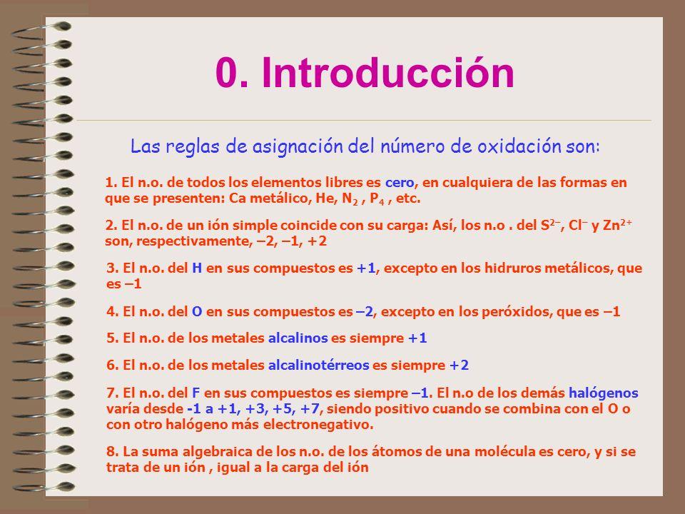 Las reglas de asignación del número de oxidación son:
