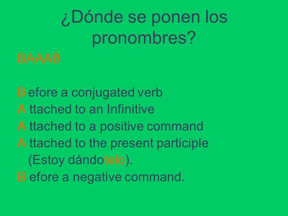 ¿Dónde se ponen los pronombres