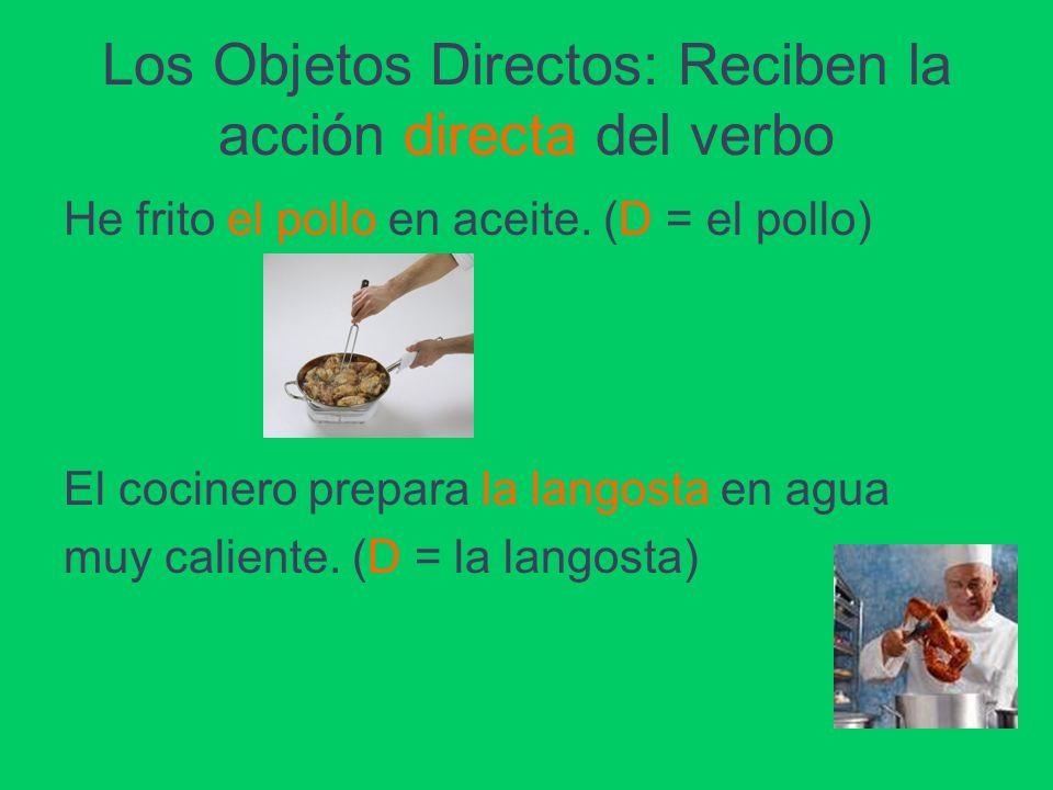 Los Objetos Directos: Reciben la acción directa del verbo