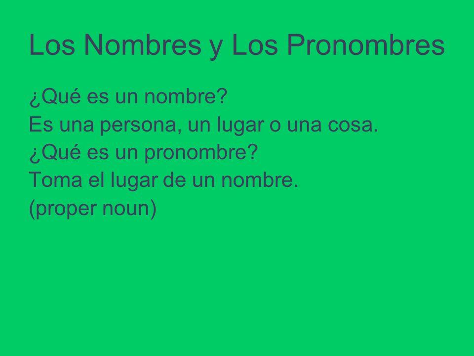 Los Nombres y Los Pronombres