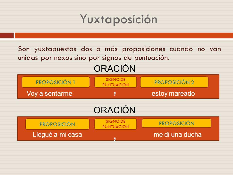 , , Yuxtaposición ORACIÓN ORACIÓN