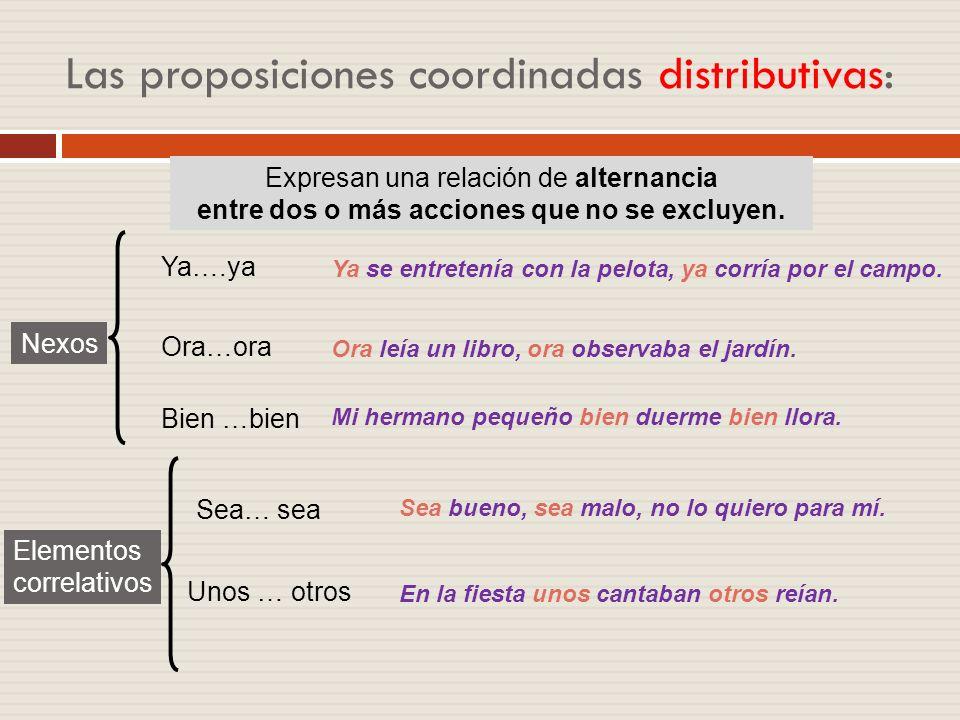 Las proposiciones coordinadas distributivas: