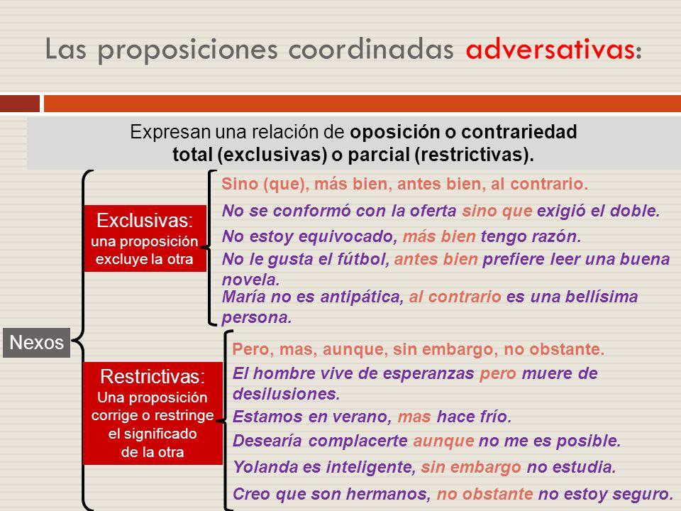 Las proposiciones coordinadas adversativas: