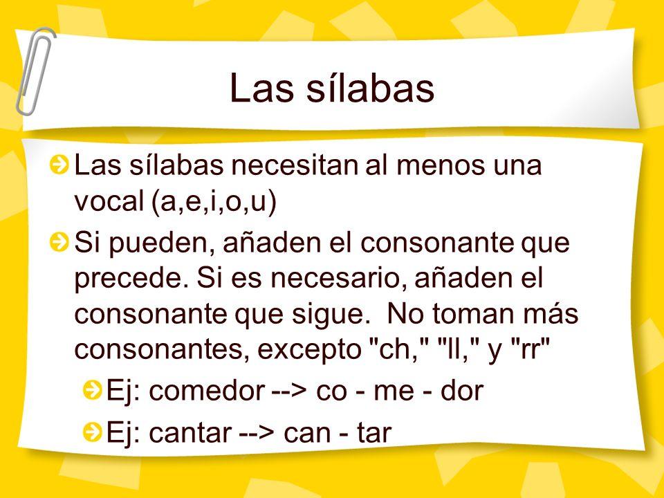Las sílabas Las sílabas necesitan al menos una vocal (a,e,i,o,u)