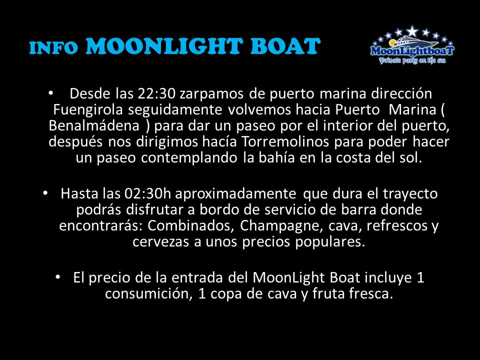 INFO MOONLIGHT BOAT