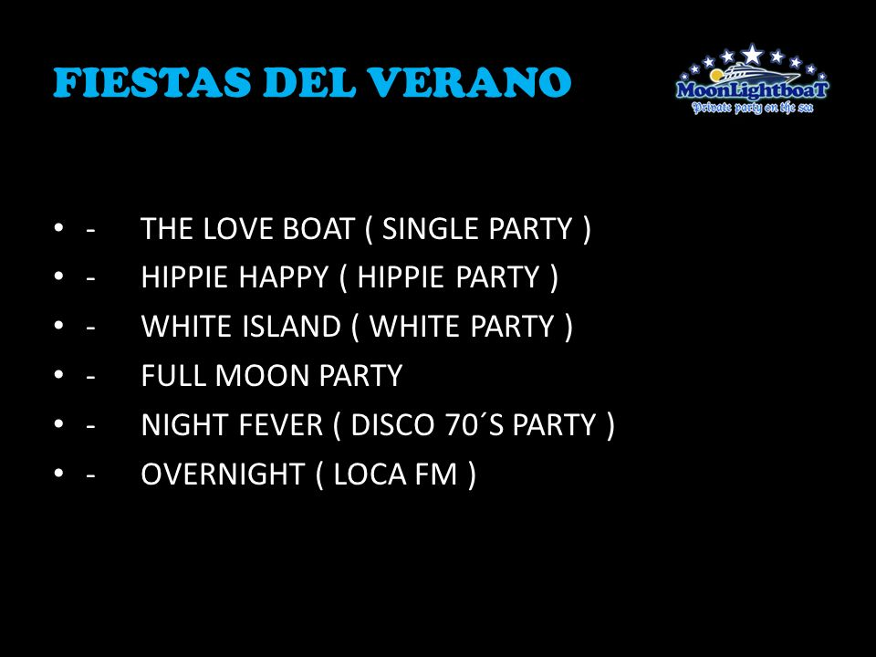 FIESTAS DEL VERANO - THE LOVE BOAT ( SINGLE PARTY )