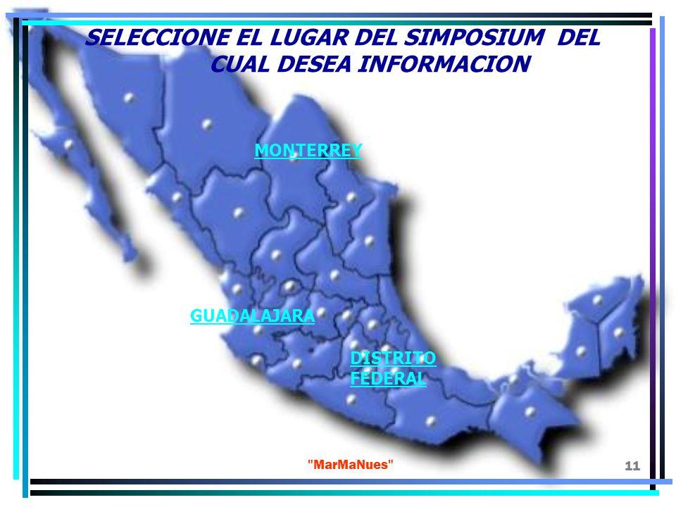 SELECCIONE EL LUGAR DEL SIMPOSIUM DEL CUAL DESEA INFORMACION