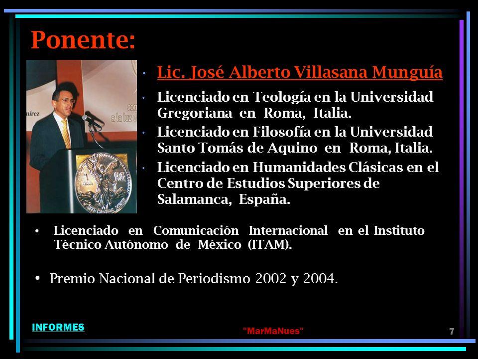 Ponente: Lic. José Alberto Villasana Munguía