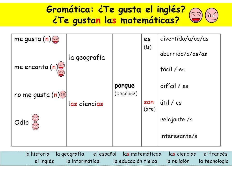 Gramática: ¿Te gusta el inglés ¿Te gustan las matemáticas