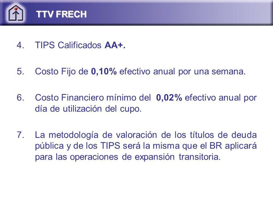 TTV FRECH TIPS Calificados AA+. Costo Fijo de 0,10% efectivo anual por una semana.