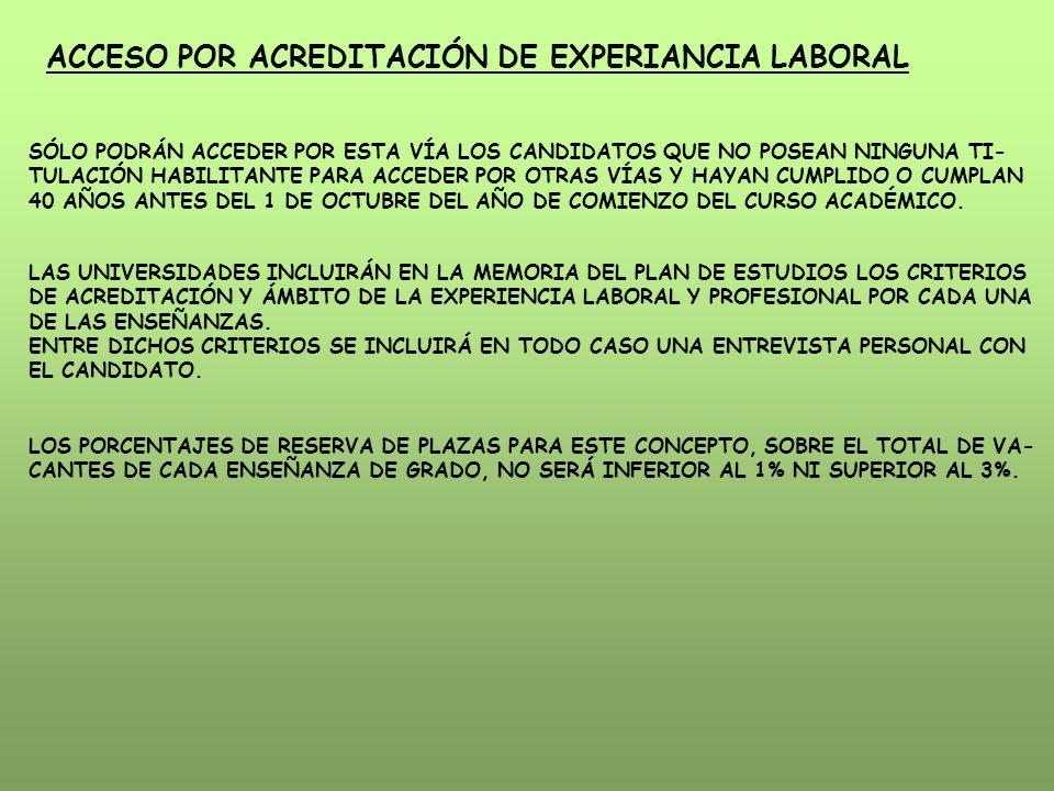 ACCESO POR ACREDITACIÓN DE EXPERIANCIA LABORAL