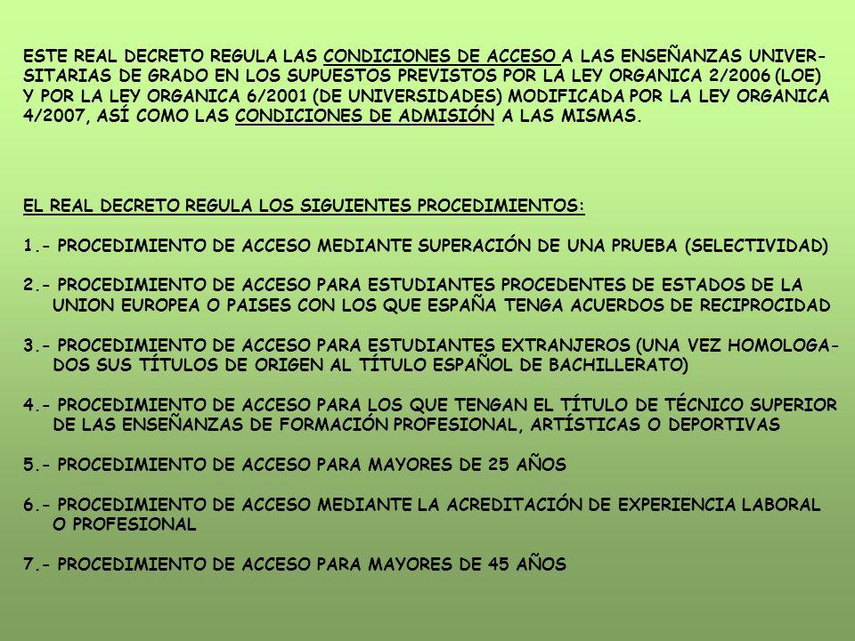 4/2007, ASÍ COMO LAS CONDICIONES DE ADMISIÓN A LAS MISMAS.