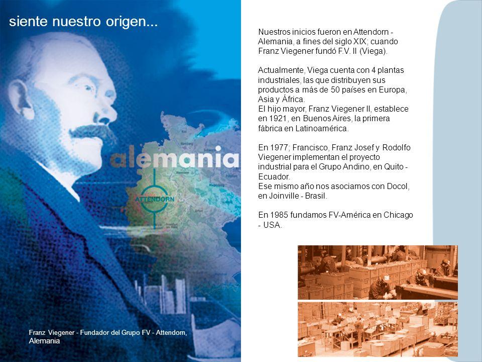 siente nuestro origen... Nuestros inicios fueron en Attendorn - Alemania, a fines del siglo XIX; cuando Franz Viegener fundó F.V. II (Viega).