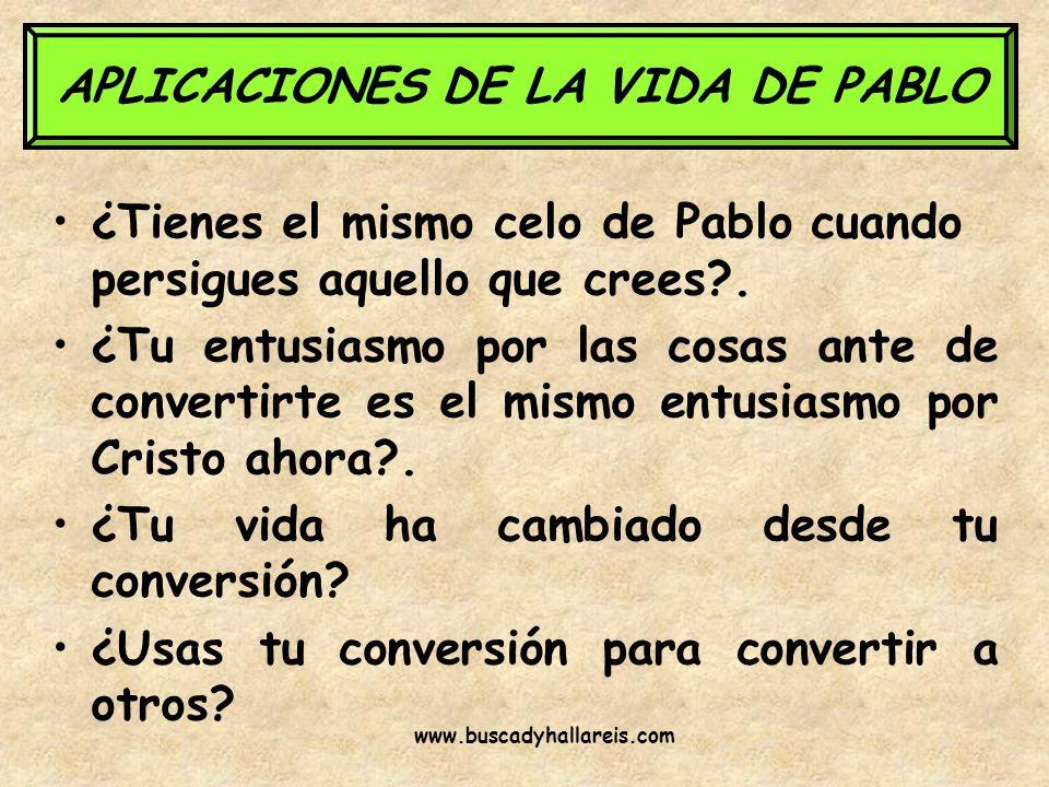 APLICACIONES DE LA VIDA DE PABLO