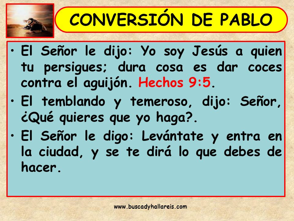 CONVERSIÓN DE PABLO El Señor le dijo: Yo soy Jesús a quien tu persigues; dura cosa es dar coces contra el aguijón. Hechos 9:5.