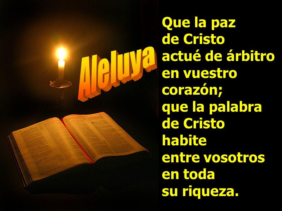 Que la paz de Cristo actué de árbitro en vuestro corazón; que la palabra de Cristo habite entre vosotros en toda su riqueza.