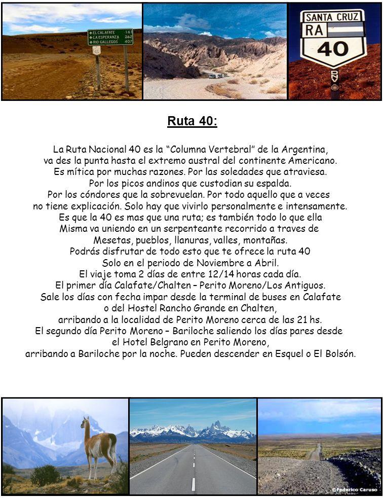 Ruta 40: La Ruta Nacional 40 es la Columna Vertebral de la Argentina, va des la punta hasta el extremo austral del continente Americano.