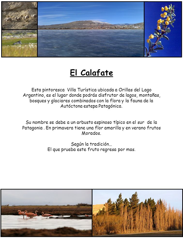 El Calafate Esta pintoresca Villa Turística ubicada a Orillas del Lago