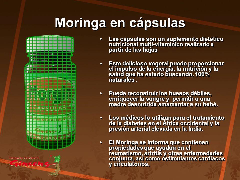 Moringa en cápsulas Las cápsulas son un suplemento dietético nutricional multi-vitamínico realizado a partir de las hojas.