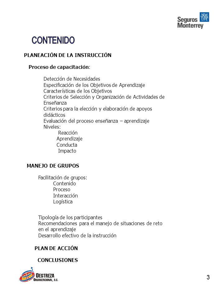 CONTENIDO PLANEACIÓN DE LA INSTRUCCIÓN Proceso de capacitación: