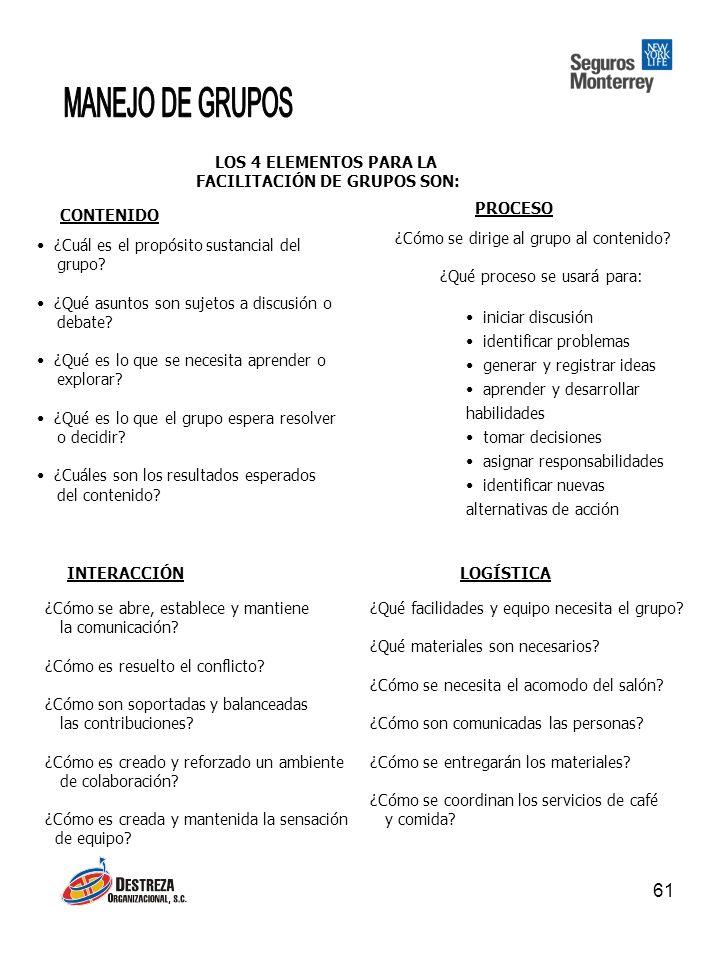 FACILITACIÓN DE GRUPOS SON: