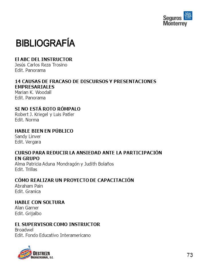 BIBLIOGRAFÍA El ABC DEL INSTRUCTOR Jesús Carlos Reza Trosino