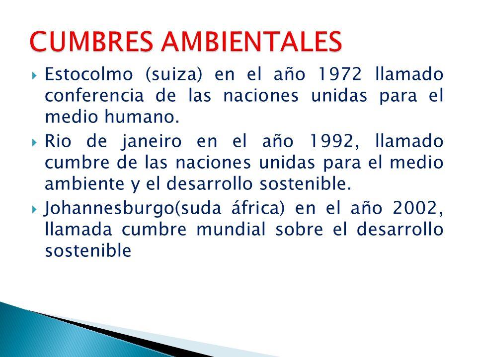 CUMBRES AMBIENTALES Estocolmo (suiza) en el año 1972 llamado conferencia de las naciones unidas para el medio humano.