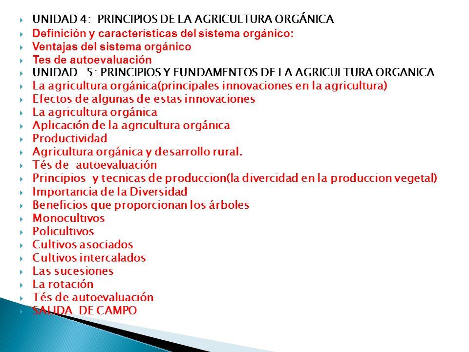 UNIDAD 4: PRINCIPIOS DE LA AGRICULTURA ORGÁNICA