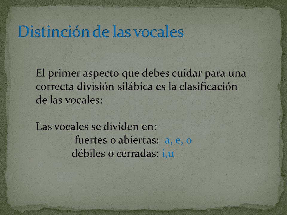 Distinción de las vocales