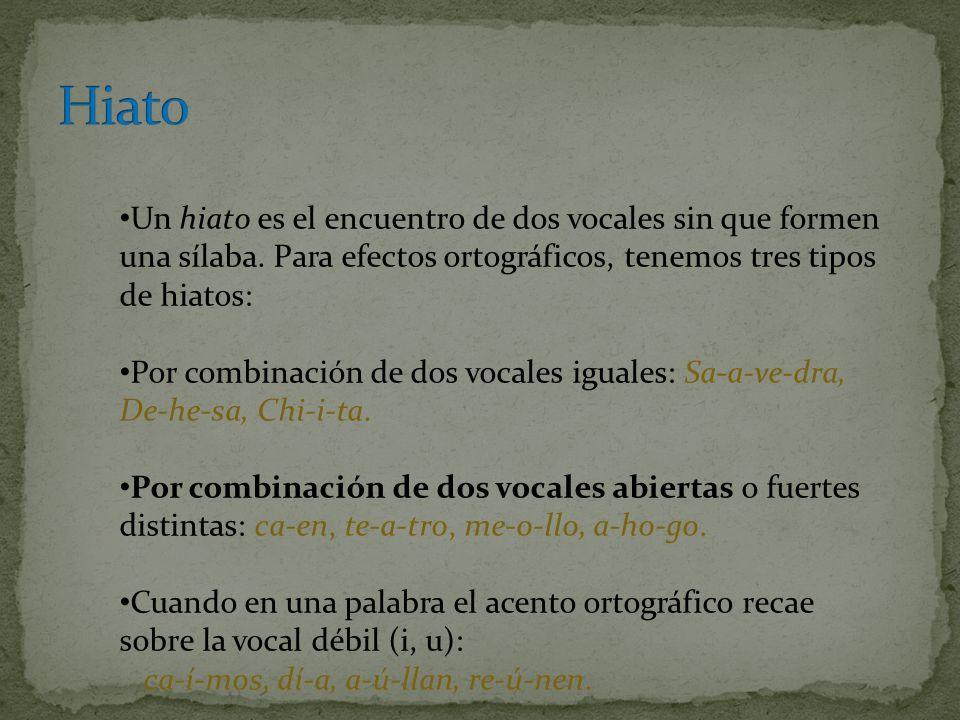 Hiato Un hiato es el encuentro de dos vocales sin que formen una sílaba. Para efectos ortográficos, tenemos tres tipos de hiatos: