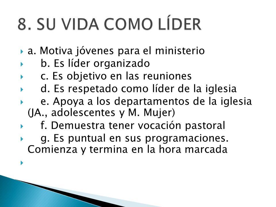 8. SU VIDA COMO LÍDER a. Motiva jóvenes para el ministerio