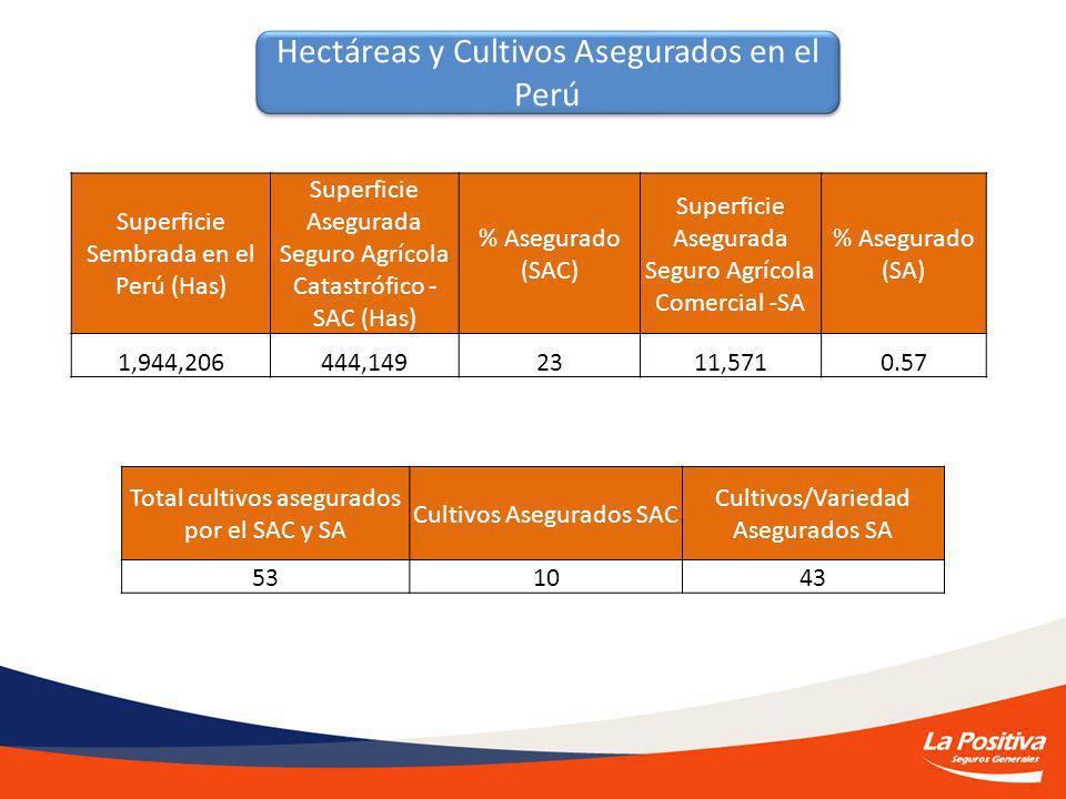 Hectáreas y Cultivos Asegurados en el Perú