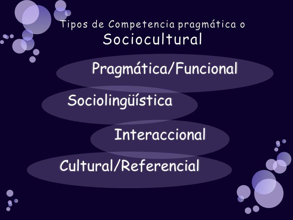 Tipos de Competencia pragmática o Sociocultural