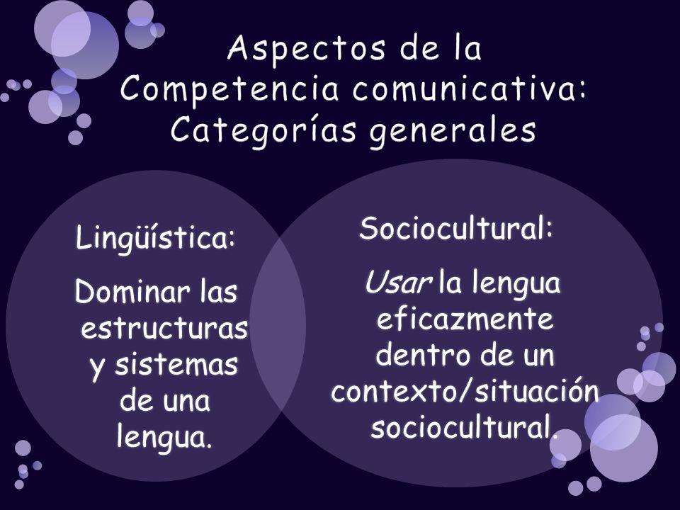 Aspectos de la Competencia comunicativa: Categorías generales