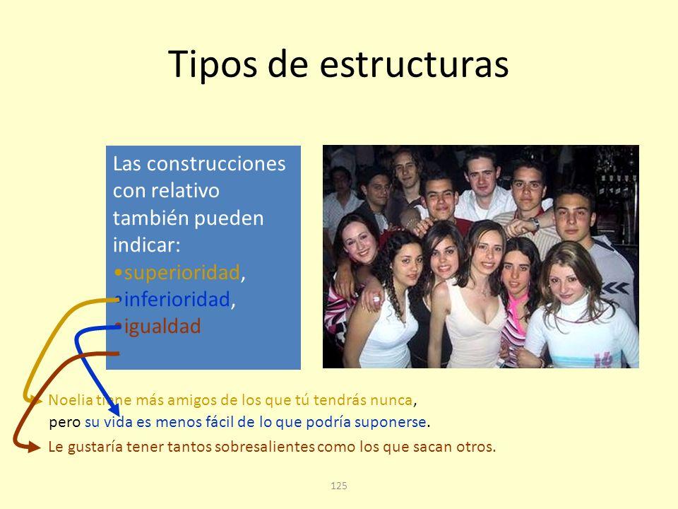 Tipos de estructuras Las construcciones con relativo también pueden indicar: superioridad, inferioridad,