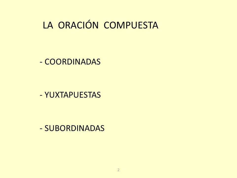 LA ORACIÓN COMPUESTA COORDINADAS YUXTAPUESTAS - SUBORDINADAS