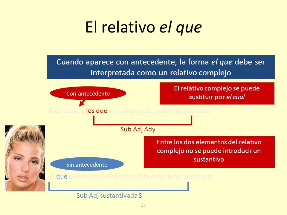 El relativo complejo se puede sustituir por el cual