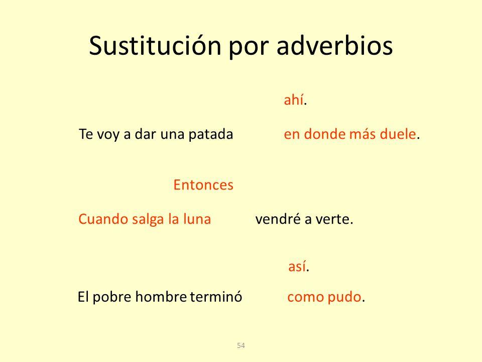 Sustitución por adverbios