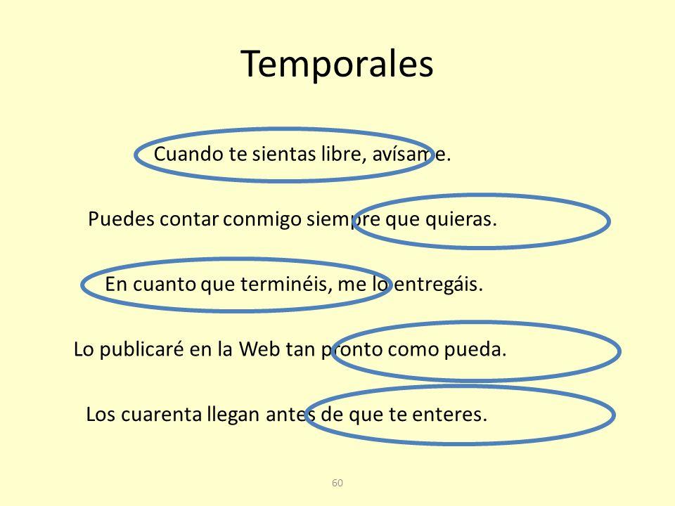 Temporales Cuando te sientas libre, avísame.