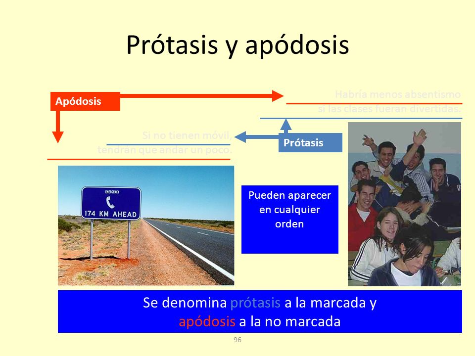 Prótasis y apódosis Habría menos absentismo si las clases fueran divertidas. Apódosis. Si no tienen móvil, tendrán que andar un poco.
